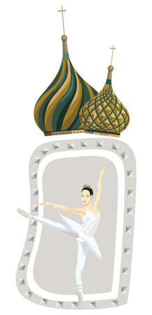 Ornamental frame illustration with russian ballerina and Kremlin domes, isolated on white Vector