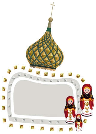 Frame illustration with a Kremlin dome and russian dolls, isolated on white Vector