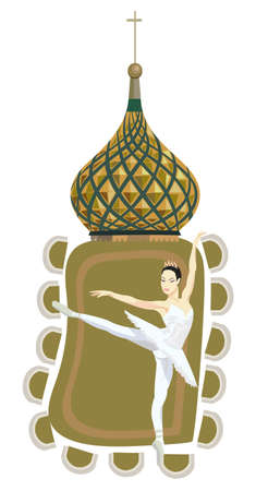 Ornamental frame illustration with russian ballerina and Kremlin dome, isolated on white Vector