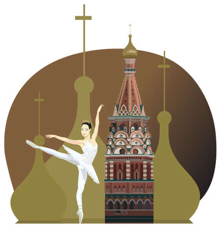 Illustration with russian ballerina and Kremlin tower Vector