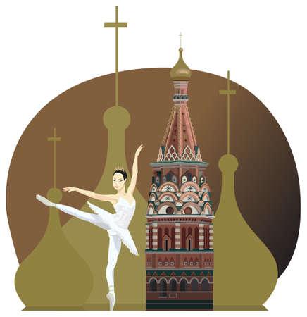 kremlin: Illustration with russian ballerina and Kremlin tower Illustration