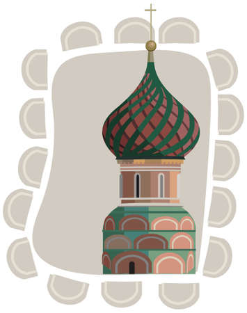 Frame illustration with a Kremlin tower, isolated on white Vector