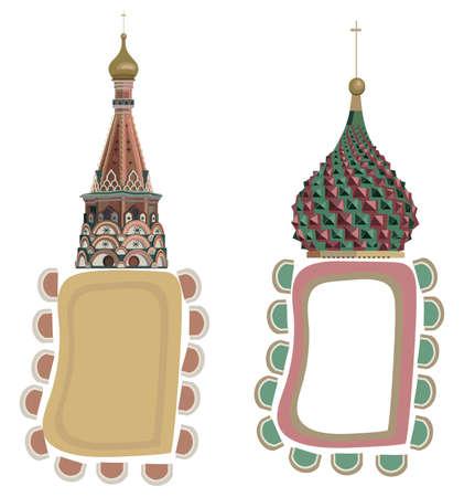 the kremlin: Frame illustrations with Kremlin Domes, isolated on white background Illustration