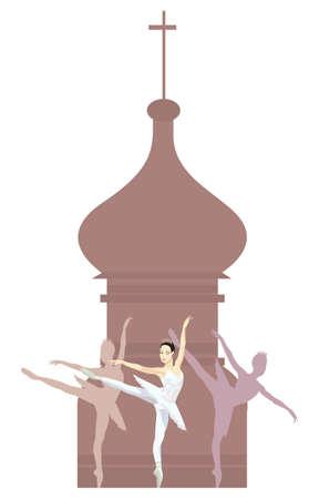 kremlin: Illustration of a Russian ballerina and Russian basilica silhouette