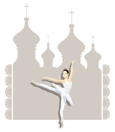 kremlin: Illustration of a Russian ballerina and Kremlin silhouette