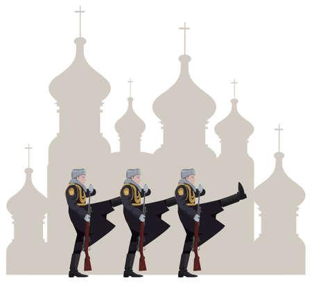 kremlin: Illustratie van Russische soldaten en het Kremlin silhouet