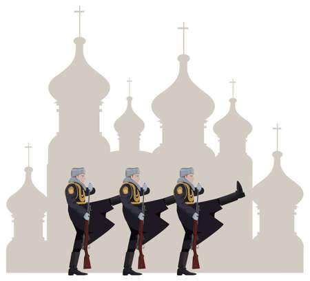 Illustration of Russian soldiers and Kremlin silhouette