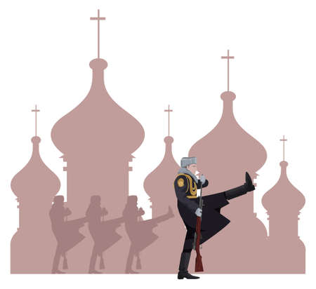 russian culture: Illustration of a Russian soldier and Kremlin silhouette