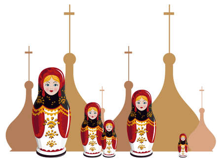Illustration of Russian dolls with onion domes silhouette
