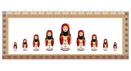 muñecas rusas: Ilustración de muñecas rusas dentro de un marco decorativo