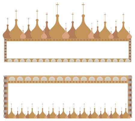 russian church: Frame illustrations with onion domes isolated on white