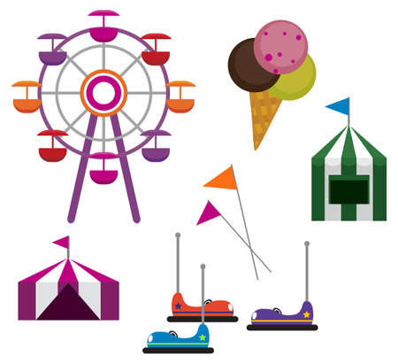 fairground: Illustrations of Amusement Park symbols, isolated on white background Illustration