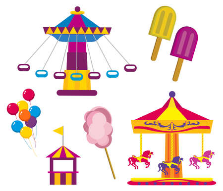 fun fair: Illustrations of Amusement Park symbols, isolated on white background Illustration