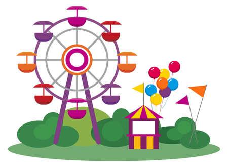 fei�ra: Ilustra��o de um parque de divers�es, isolado no fundo branco Ilustra��o