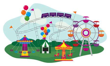 테마: 놀이 공원의 그림, 흰색 배경에 고립