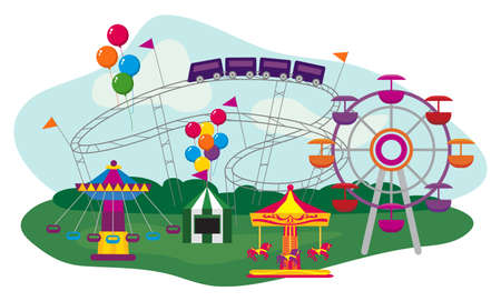 Illustration of an Amusement Park, isolated on white background