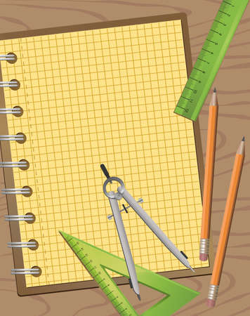 bind: Background illustration of technical drawing equipments with a blank notepad