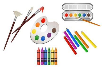 Ilustración de dibujos equipos de arte, aislado en blanco Foto de archivo - 22858455