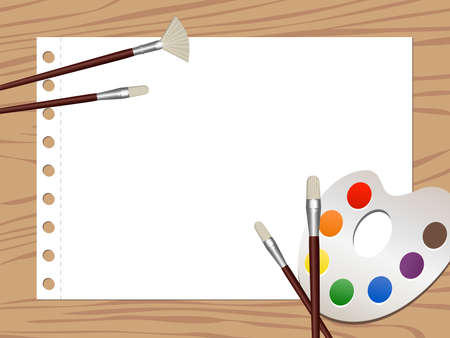 coloring sheets: Illustration of watercolor equipments and a blank drawing paper