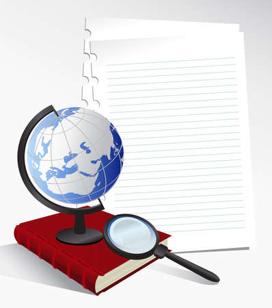 bind: Illustration with paper sheets, globe, book and magnifying glass