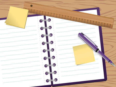 spiral notebook: Background illustration of a notepad with pen and ruler Illustration