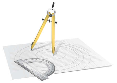 drawing compass: A drawing compass and a circle ruler on a paper sheet, isolated on white