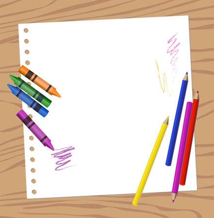 sheer: Background illustration of color pencils on a blank paper sheer