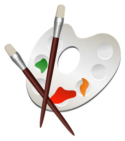 art palette: Illustration of painting palette and brushes, isolated on white