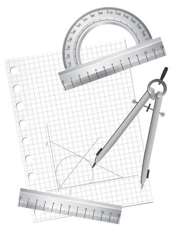 square ruler: Illustration of technical drawing equipments with a blank paper sheet