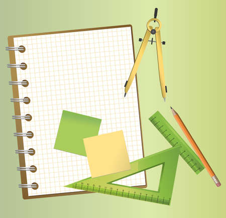 square ruler: Illustration of technical drawing equipments with a blank notepad  Illustration
