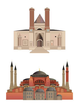 Old architecture illustrations, isolated on white background