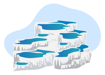 thermal: Illustration of thermal pools of Pamukkale, isolated on white