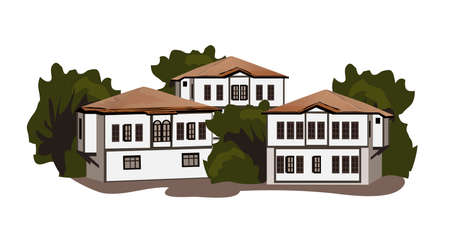 stock clipart icons: Illustration of houses, isolated on white background Illustration