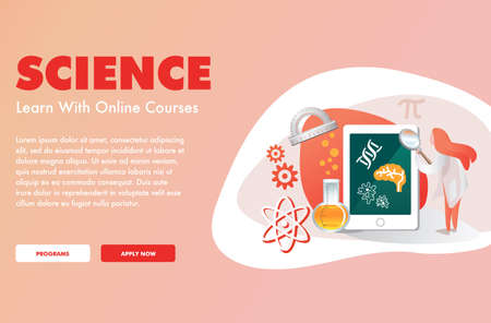 Welcome Page design of an online science education website Ilustracja