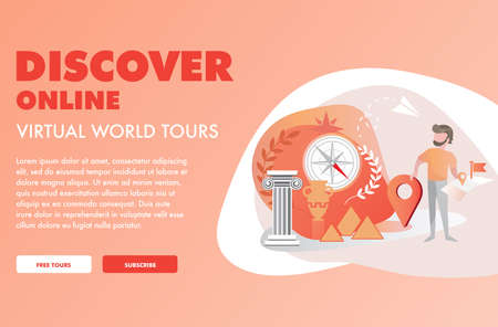 Vector illustration of Online World Tour Web Page Template