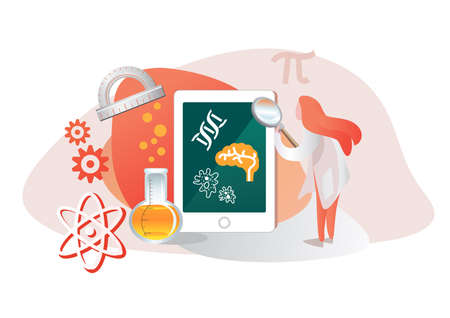 Vector illustration of Online Education tools on Science