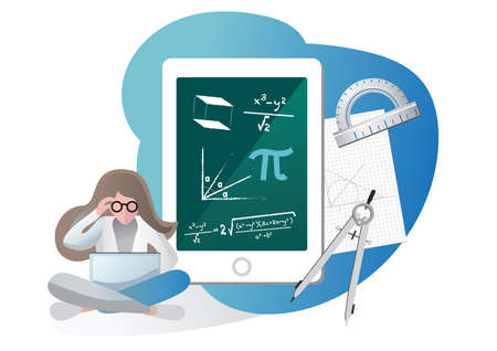 Vector illustration of Online Education tools on Maths Ilustração