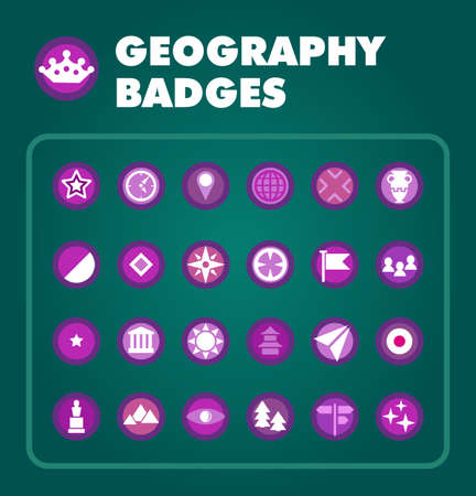 Vector set of geography achievement badges