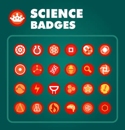 Vector set of science achievement badges Ilustracja