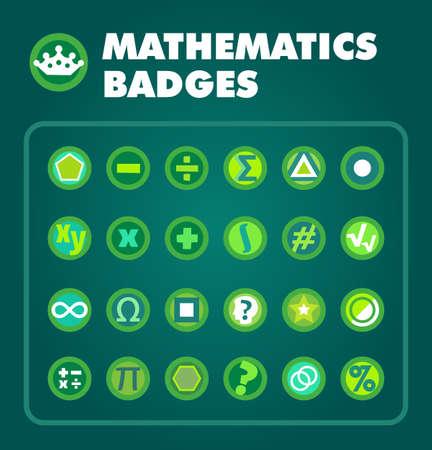 Vector set of Math achievement badges