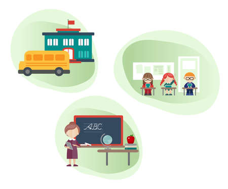 Vector illustrations of isolated school building, school bus, teacher and school kids in a classroom.