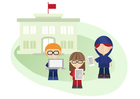 Vector illustration of isolated school building and school kids.