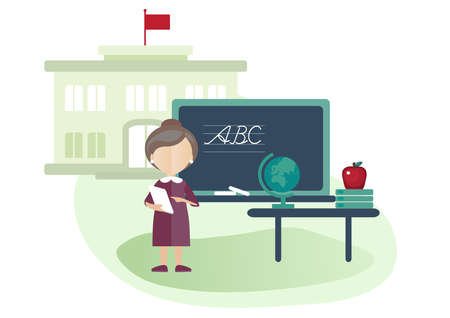 Vector illustration of isolated school building and a teacher in a classroom.