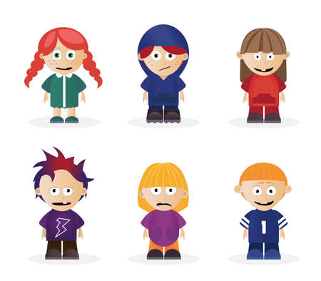 Vector illustrations of isolated boy and girl school kid characters.