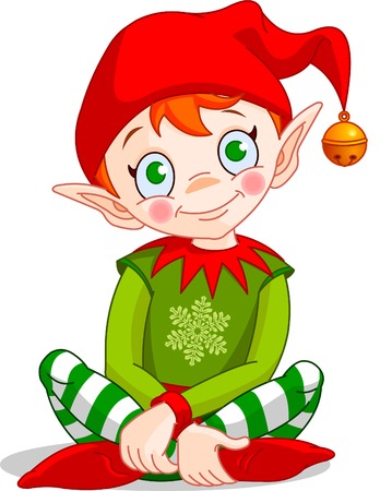 elf: Christmas Elf sitting - Vector.