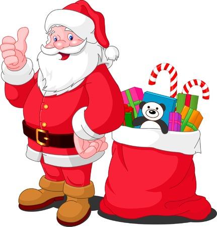 Ilustratie voor Kerstmis en Nieuwjaar. Santa Claus. Tas met geschenken. Vector