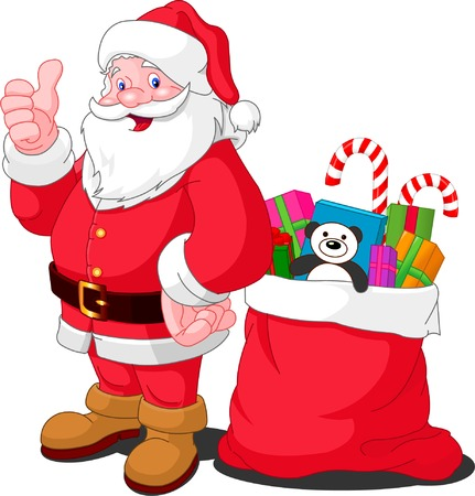 degraded: Ilustration for Christmas and New Year. Santa Claus. Bag with gifts. Vector