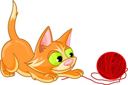A small kitten playing with ball of red yarn on a white background. Vector illustration Ilustrace