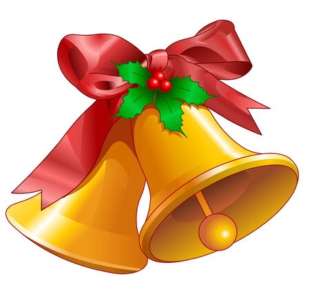 Campanas de Navidad aislado en blanco. Ilustración vectorial