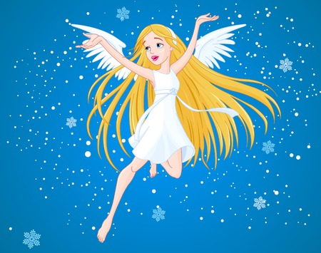 angel white: Pretty flying girl with wings Illustration